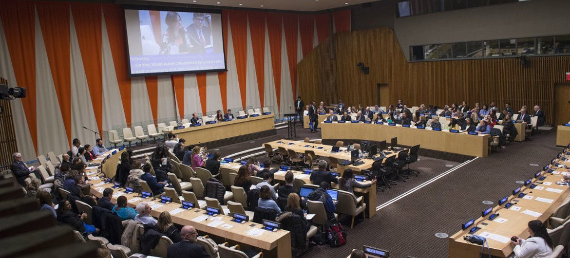 A wide view of a special event held at UN Headquarters to mark World Autism Awareness Day on the theme 'Toward Autonomy and Self-Determination.'