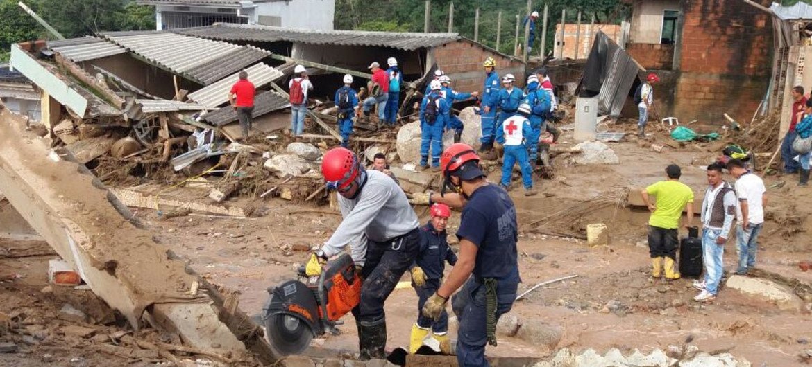 Cleaning up operations in Mocoa, a city in Putamayo province, Colombia, after a deadly landslide on 31 March 2017 claimed the lives of upwards of 200 people.