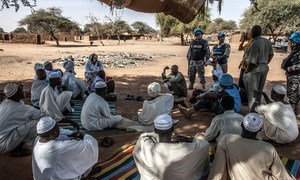 UNAMID peacekeepers met with community leaders in Zam Zam camp for internally displaced persons near El Fasher, North Darfur.