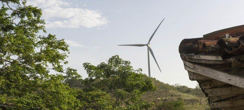 A wind mill at the Parque Eólico Camilo Ortega Saavedra wind farm in the Department of Rivas, Nicaragua.