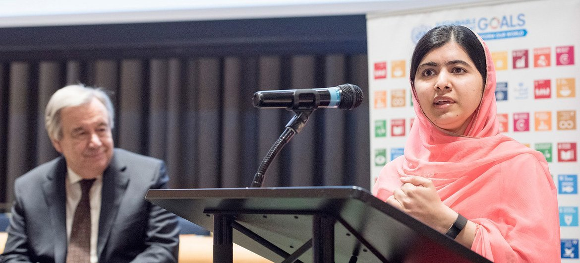 Malala Yousafzai, Messenger of Peace, speaks following her designation, as Secretary-General António Guterres looks on.
