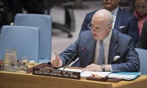 UN Special Envoy for Syria Staffan de Mistura briefs the Security Council.
