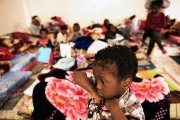 Centro de detención en Libia.