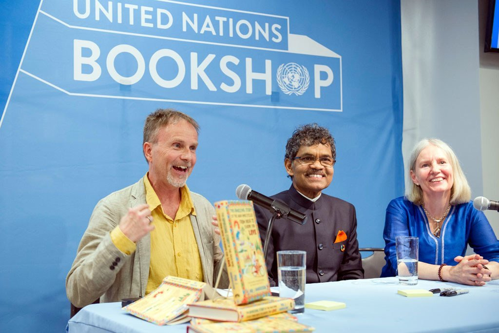 Author Per J. Andersson (left), Pradyumna Kumar Mahanandia (center) and Charlotte von Schedvin at a book launch event at in celebration of International Day of Happiness at the United Nations in New York.