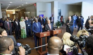 Secretary-General António Guterres (at podium, right) and Moussa Faki Mahamat, Chairperson of the African Union Commission, address the press following the signing of a Joint UN-AU Framework for Enhancing Partnerships on Peace and Security in 2017 (File).
