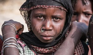 A girl displaced with her family by Boko Haram insurgents from their home on an island in Lake Chad, in Melea village, Lake Region, Chad.