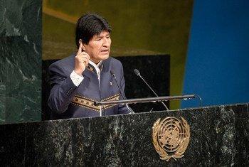 El presidente boliviano Evo Morales en la Asamblea General.Foto: ONU/Manuel Elías
