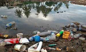 Plastic bottles and garbage waste from a nearby village wash on the shores of a river and then spill into the sea.