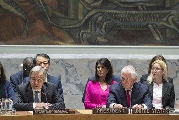 El Secretario General, António Guterres, participa en el debate ministerial del Consejo de Seguridad sobre el programa nuclear de Corea del Norte. A su derecha, el Secretario de Estado de Estados Unidos, Rex Tillerson, que preside este mes el Consejo. Foto: ONU / Eskinder Debebe