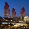 Night time view of Baku, Azerbaijan.