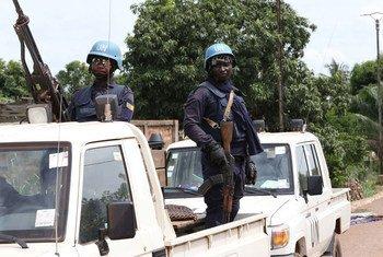 Des Casques bleus de la Mission multidimensionnelle intégrée des Nations Unies pour la stabilisation en République centrafricaine (MINUSCA). Photo MINUSCA