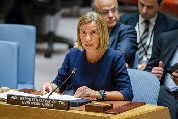 La Haut Représentante de l'Union européenne, Federica Mogherini, devant le Conseil de sécurité de l'ONU. Photo ONU/Manuel Elias