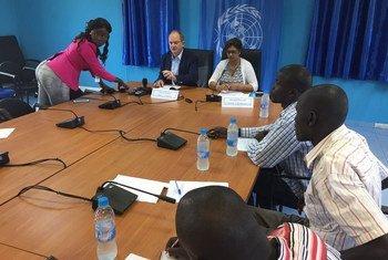联合国南苏丹特派团负责人希勒(David Shearer)5月11日在首都朱巴举行记者会。