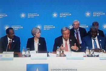 """""""伦敦索马里会议""""5月11日举行。联合国秘书长古特雷斯发表开幕致辞。"""