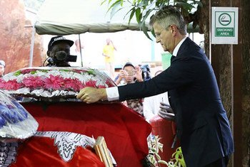 Under-Secretary-General for Peacekeeping Operations Jean-Pierre Lacroix takes part in a ceremony honouring five peacekeepers killed in an attack on their convoy on 8 May 2017 in southeast Central African Republic (CAR).
