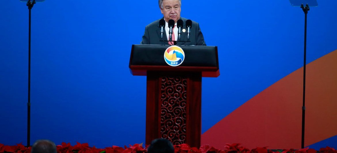 Secretary-General António Guterres addresses the opening of the Belt and Road Forum-in Beijing, China.