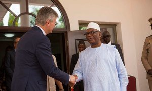 President Ibrahim Boubacar Keïta of Mali (right) greets Under-Secretary-General for Peacekeeping Operations Jean-Pierre Lacroix at the start of his three-day visit.