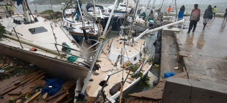 Storm damage in Port Vila, capital of Vanuatu, caused by Tropical Cyclone Pam in 2015.