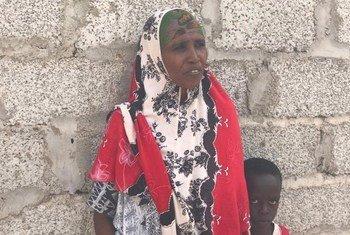 Barei Dubad Ibrahim, a Somali refugee, with her son, at Kharaz refugee camp in Lahj governorate, Yemen.