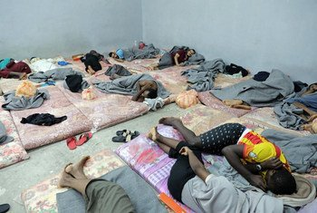 In Libya, dozens of migrants sleep alongside one another in a cramped cell in Tripoli's Tariq al-Sikka detention facility.