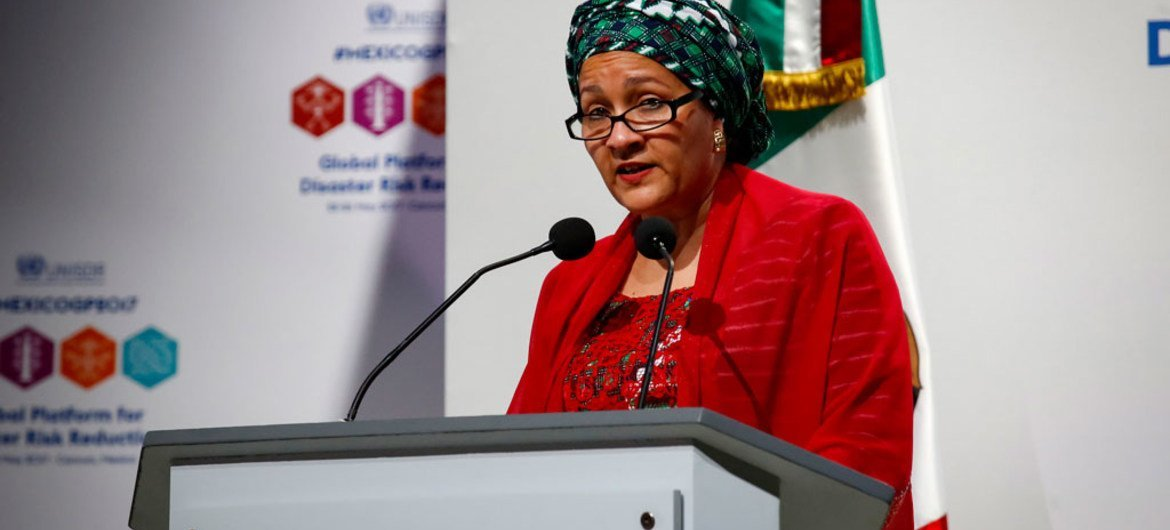 Deputy Secretary-General Amina Mohammed addresses the Global Platform for Disaster Risk Reduction in Cancún, Mexico.