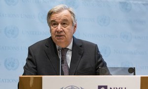 Secretary-General António Guterres addresses audience at New York University Stern School of Business.