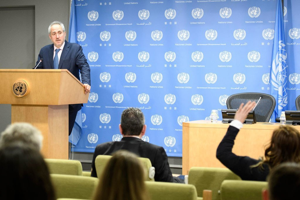 Spokesman Stéphane Dujarric for the UN Secretary-General, reads a statement on the United States decision to withdraw from the Paris Agreement on climate change.