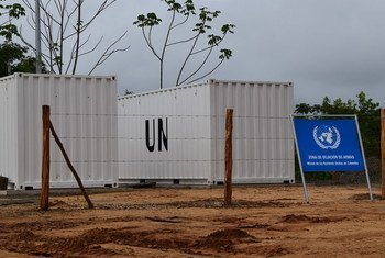 Two of the containers used by the UN Mission in Colombia to store collected weapons.