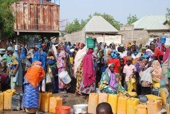 Desplazados nigerianos que regresan de Camerún esperan a ser registrados en el campo de Banki, en el norte de Nigeria. Foto: ACNUR / Romain Desclous