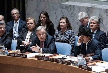 联合国秘书长古特雷斯6月6日在安理会针对预防性外交和跨国界水域的会议上发言。