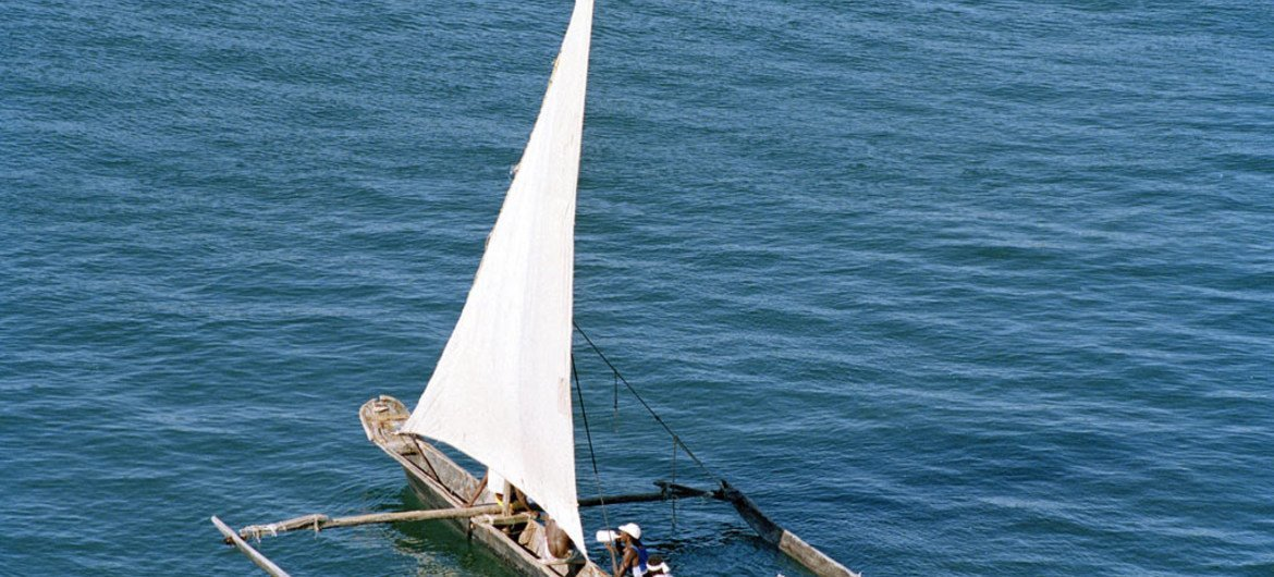 Fishing boat in the Indian Ocean off the island of Mombasa.