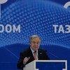 """联合国秘书长古特雷斯6月11日访问了吉尔吉斯斯坦,并在首都比什凯克参加了""""塔萨·科姆公共服务会议""""(Taza Koom Conference on Public Service)。"""