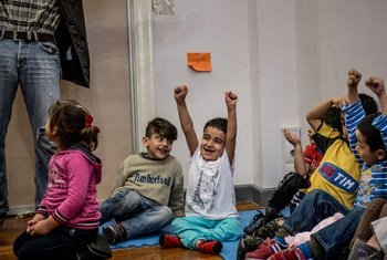 Children at a refugee center in Athens (file photo)