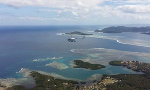 Aerial shot of the island of Efate in the Pacific nation of Vanuatu.
