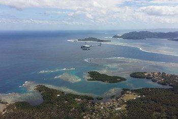 Vue aérienne de l'île d'Efate au Vanuatu. Photo Vanuatu Helicopters/2017/Andy Martin