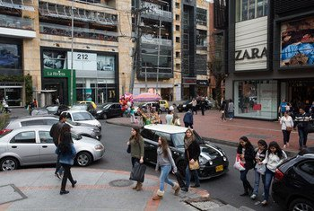 Shoppers outside the Andino shopping center in Chapinero district in Bogota. (file)