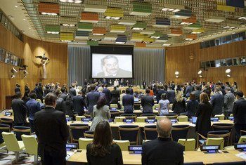 Wide view of the Trusteeship Council Chamber during the minute of silence at the opening of the High-Level Debate on Transnational Organized Crime (in observance of the twenty-fifth anniversary of the assassination of Judge Giovanni Falcone)