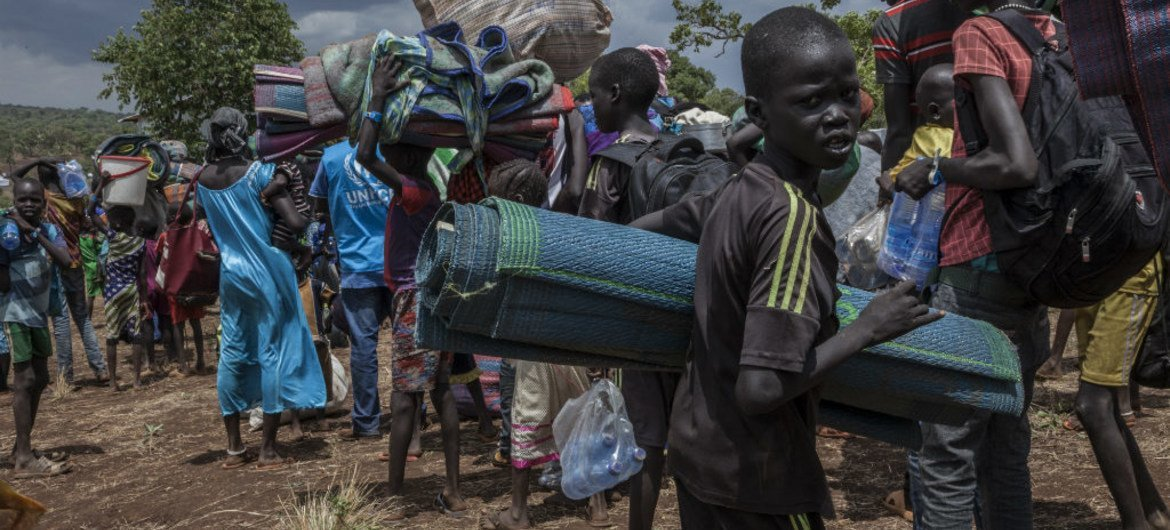 After three days on the road, South Sudanese refugees arrive at the newly constructed Gure Shembola Camp in Ethiopia.