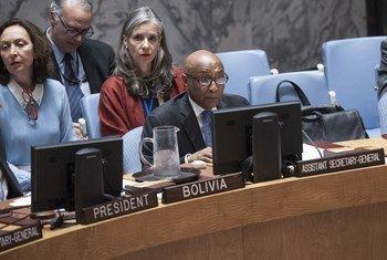 Tayé-Brook Zerihoun, Sous-Secrétaire général aux affaires politiques, devant le Conseil de sécurité. Photo ONU/Kim Haughton