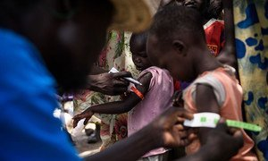 A UNICEF nutrition volunteer measures the mid-upper arm circumference (MUAC) of a child during a health screening as part of a UNICEF Rapid Response Mission to the village of Aburoc, South Sudan.