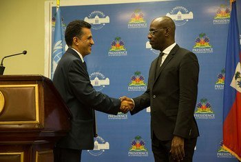 The Permanent Representative of Bolivia to the United Nations Sacha Sergio Llorenty Soliz holds a joint press conference at the Haitian National Palace with the Haitian Acting Minister of Foreign Affairs Aviol Fleurant.