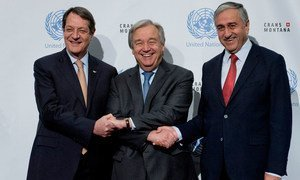 Secretary-General António Guterres (centre) with Mustafa Akinci (right) Turkish Cypriot leader and Nicos Anastasiades (left) Greek Cypriot leader during Cyprus talks.