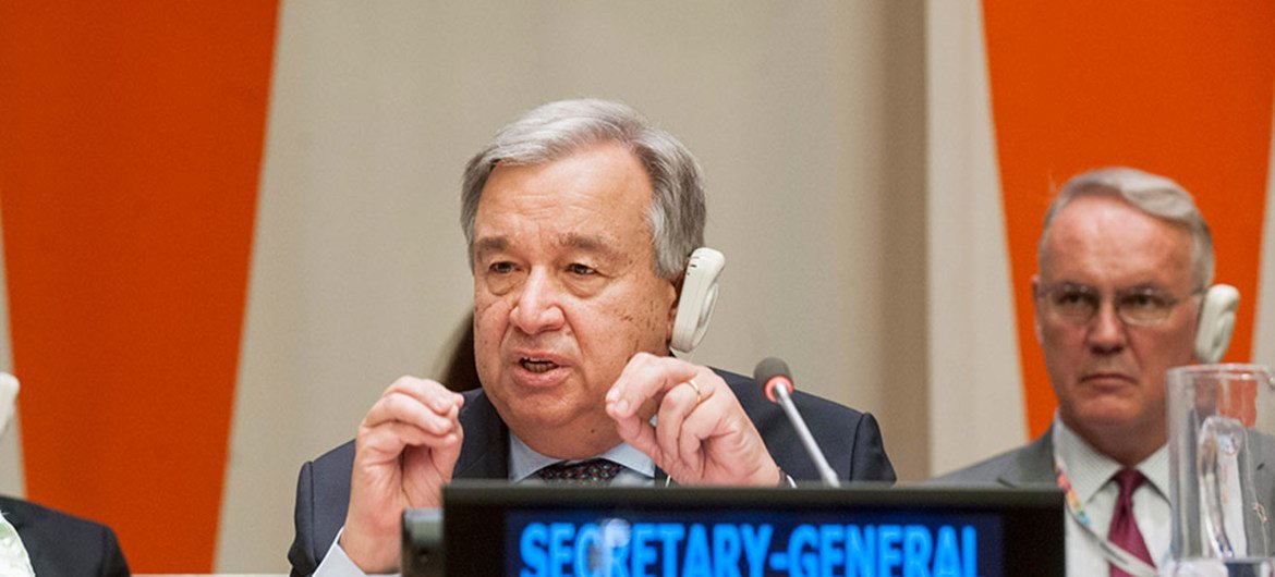 """Secretary-General António Guterres presents to the Economic and Social Council (ECOSOC) his report, """"Repositioning the UN development system to deliver on the 2030 Agenda – Ensuring a Better Future for All""""."""