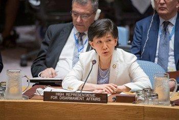联合国裁军事务高级代表中满泉(Izumi Nakamistu)在安理会会议上发言。