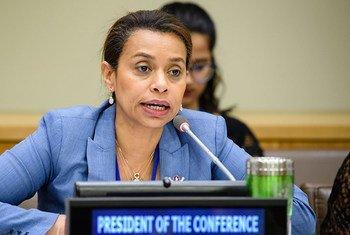 Elayne Whyte Gómez, Représentante permanente du Costa Rica auprès de l'Office des Nations Unies à Genève (ONUG) et Présidente de la Conférence des Nations Unies pour négocier un instrument juridiquement contraignant interdisant les armes nucléaires.