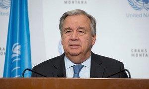 Le Secrétaire général de l'ONU, António Guterres, lors d'une conférence de presse à l'issue des pourparlers sur Chypre à Crans-Montana.