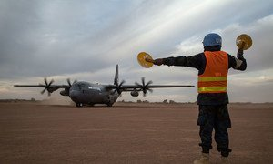 A cargo plane arrives at an airstrip in the northern part of Mali.