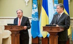 Secretary-General António Guterres (left), alongside Petro Poroshenko, the President of Ukraine, at a press conference in Kyiv, Ukraine.