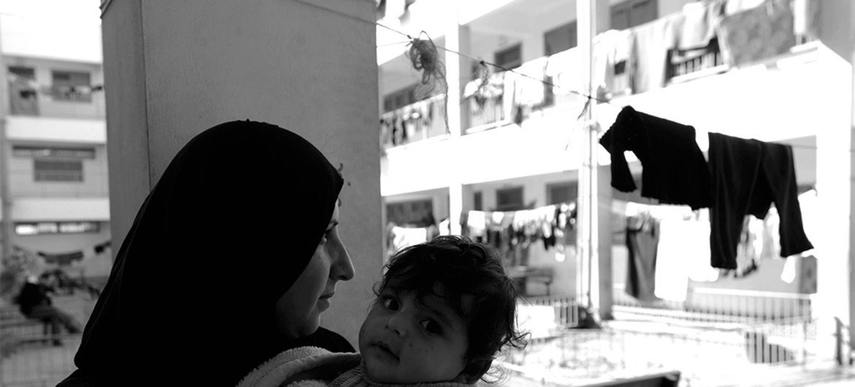 Mujer palestina refugiada en un albergue de la UNRWA