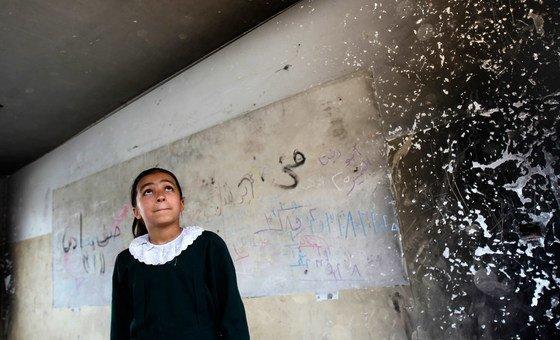 Violência impacta o bem-estar de crianças e de professores da Faixa de Gaza.